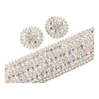 Wide Aurora Borealis Rhinestone Bracelet Earrings Demi Parure Set
