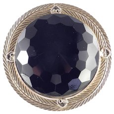 Freirich Huge Faceted Art Glass Cabochon Brooch Pin