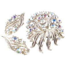 Coro Rhinestone Brooch Pin Earrings Demi Parure Set
