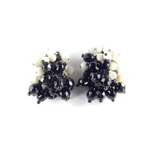 Josef Morton Bead Cluster Pompom Dangle Japanned Earrings