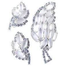 Rhinestone Art Glass Brooch Pin Earrings Demi Parure Set
