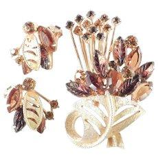 Rhinestone Molded Art Glass Flower Basket Spray Brooch Pin Earrings Demi Parure Set
