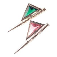 Hobe Art Glass Rhinestone Pennant Brooch Pin Pair Set