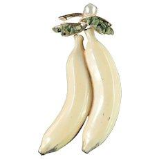 BSK Enamel Dangling Banana Fruit Figural Brooch Pin