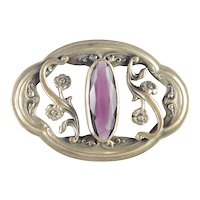Victorian Brass Floral Foliage Glass Faux Amethyst Sash Pin