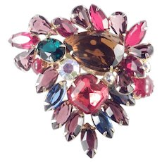 Large Multi Color Art Glass Rhinestone Brooch Pin