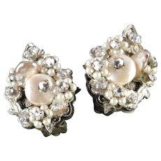 Robert Rhinestone Faux Pearl Earrings