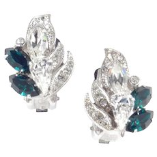 Eisenberg Rhinestone Earrings Rhodium Plate