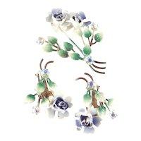 Austria Rhinestone Enamel Flower Spray Bouquet Brooch Pin Earrings Demi Parure Set
