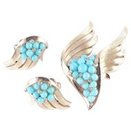 Trifari Rhinestone Faux Turquoise Bead Brooch Pin Earrings Demi Parure Set