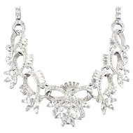 Marcel Boucher Rhinestone Collar Necklace Rhodium Plate