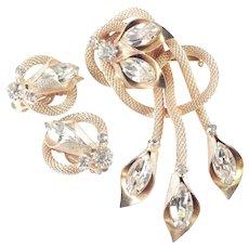 Rhinestone Mesh Rope Fringe Dangle Brooch Pin Earrings Demi Parure Set