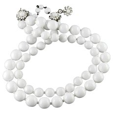 Miriam Haskell Milk Glass Bead Two Row Necklace