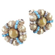 Hobe Bead Rhinestone Faux Persian Turquoise Rondelle Button Earrings