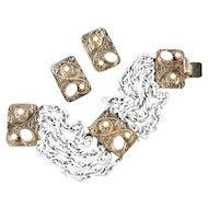 Hobe Chain Link Bracelet Cabochon Bead Stations Earrings Demi Parure Set