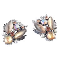 Florenza Rhinestone Faux Mexican Opal Earrings