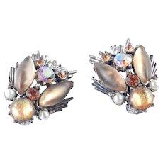 Florenza Rhinestone Faux Mexican Opal Earrings