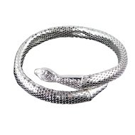 Whiting & Davis Mesh Coil Serpent Snake Collar Choker Necklace