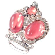 Sterling Silver Glass Cabochon Crown Brooch Pin