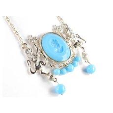 Twin Lion Intaglio Medallion Bead Dangle Pendant Necklace
