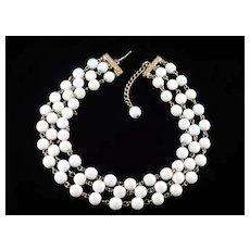 Reinad Triple Row Milk Glass Bead Collar Choker Necklace