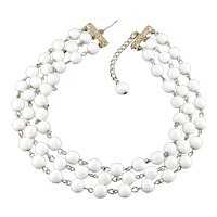Reinad Triple Row Milk Glass Bead Collar Choker Necklace