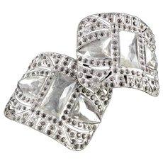 Art Deco Pair Rhinestone Shoe Buckles Clips Evergrip FBN Co