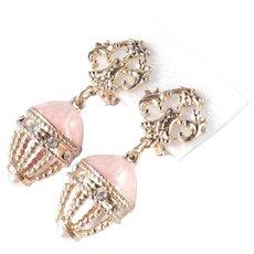 Enamel Rhinestone Faux Pearl Cage Dangle Earrings