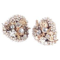 Miriam Haskell Rhinestone Faux Pearl Heart Earrings