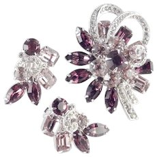Eisenberg Ice Rhinestone Brooch Pin Earrings Demi Parure Set Rhodium Plate