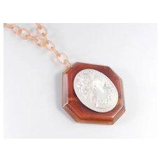 Bakelite Octagon Cameo Pendant Necklace Celluloid Chain