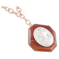 Bakelite Octagon Cameo Pendant Necklace Celluloid Chain