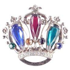 Sterling Silver Rhinestone Art Glass Crown Brooch Pin