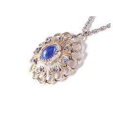 Florenza Faux Lapis Cabochon Bead Pendant Necklace