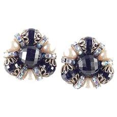 Hobe Rhinestone Bead Faux Pearl Earrings