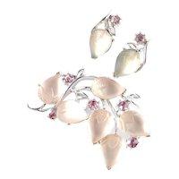 Lisner Frosted Glass Rhinestone Acorn Fruit Salad Brooch Pin Earrings Set