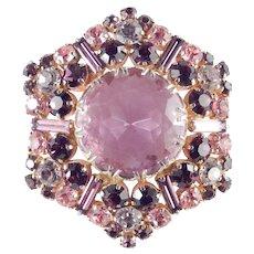 Rhinestone Art Glass Hexagon Star Brooch Pin