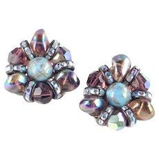 Hobe Glass Bead Rhinestone Earrings