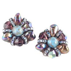 Hobe Glass Bead Rhinestone Earrings