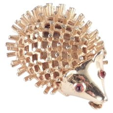 Marcel Boucher Hedgehog Figural Brooch Pin Cabochon Eyes