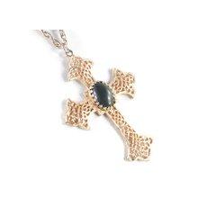Hobe Filigree Cross Pendant Necklace Cabochon Stone