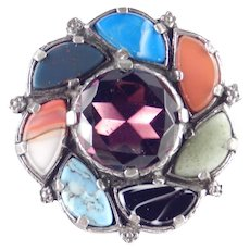 Miracle Rhinestone Celtic Faux Scottish Agate Brooch Pin