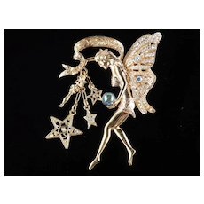 Kirks Folly Rhinestone Fairy God Mother Crystal Ball Dangle Brooch Pin