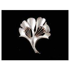Weiss Enamel Rhinestone Ginkgo Leaf Brooch Pin