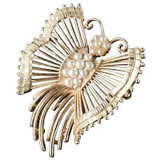 Lisner Faux Pearl Butterfly Brooch Pin