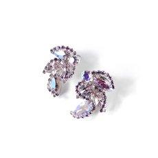 Rhinestone Climber Earrings Rhodium Plate