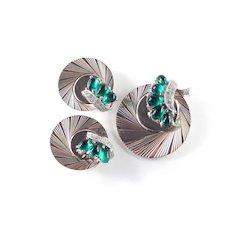 Marcel Boucher Retro Deco Rhinestone Faux Jade Cabochon Brooch Pin Earrings Set