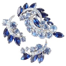 Rhinestone Crescent Brooch Pin Earrings Demi Parure Set