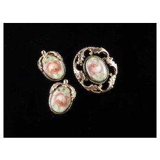 Whiting & Davis Painted Porcelain Plaque Brooch Earrings Demi Parure Set