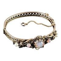 Vintage Faux Opal Pearl Hinged Bangle Bracelet